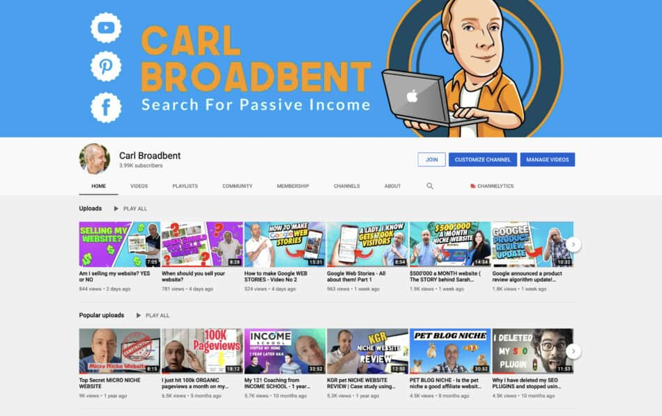 carl broadbent youtube channel